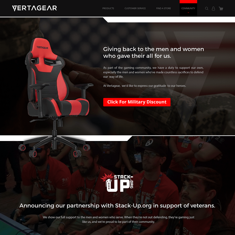 Vertagear website homepage design