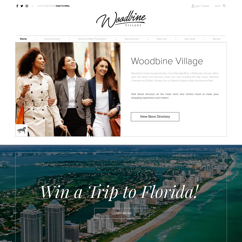 Woodbine website homepage design
