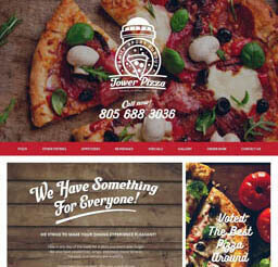 Tower Pizza website design layout