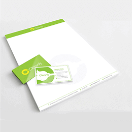 Cleanerly branding business card in green and white theme