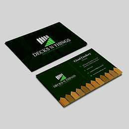 Decks N Things branding business card in green, brown and white theme