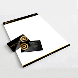 Good Fortune Development branding business card in gold and black theme
