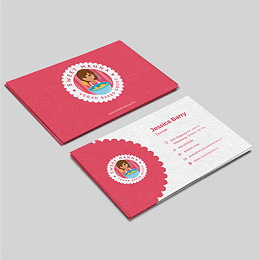 Sweet Manna branding business card in pink and white theme