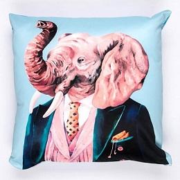 An elephant head and human body printed light blue pillowcase