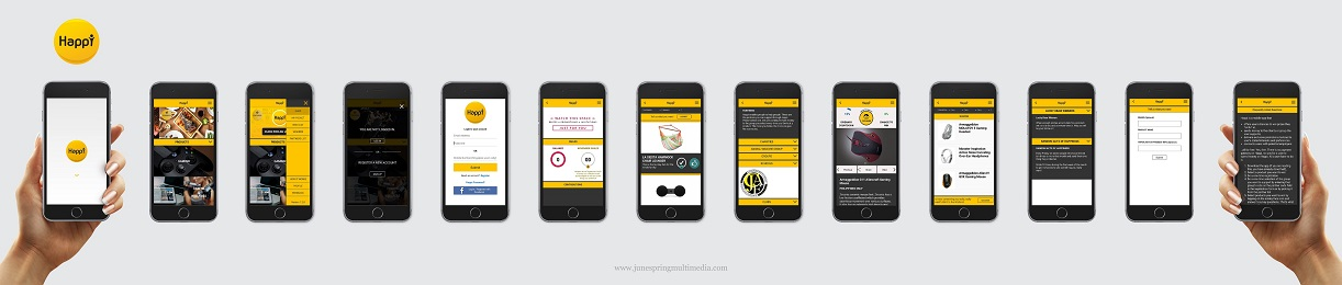 Series of mobile app process of Happi App