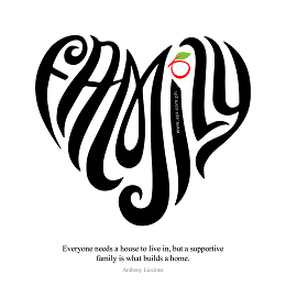Apple One with a family word form into a heart and a quotes