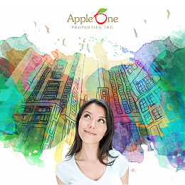 Apple One Properties with a woman imagining a building social media design