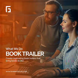 """Grabberfactory book trailer social media design with a man guiding the woman on the works"""