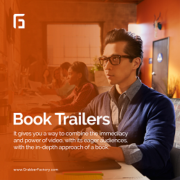 Grabberfactory social media design with people working on videos and book trailers info