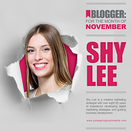 JSM Blogger social media design with an image of Shy Lee and her information