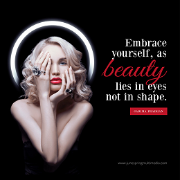 JSM social media design with a blonde woman and embrace yourself quotes