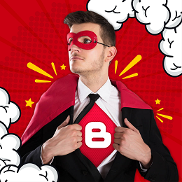 JSM social media design with a man wearing a corporate superhero outfit
