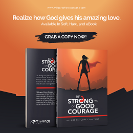 "Milagrosflores social media design with a front and back cover of a book entitled ""Be Strong And Of Good Courage"""