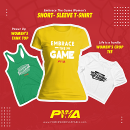 PWA Embrace The Game social media design with a short-sleeve t-shirt, women's crop tee, and women's tank top