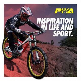 PWA social media design with a male biker on the mountain