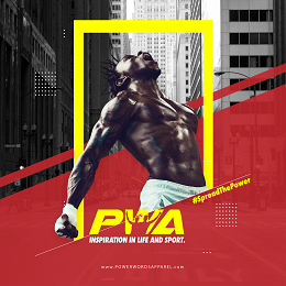 Power Words Apparel social media design with quotes, sporty man and a building background