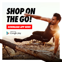 PWA app ads campaign with sporty man jumps over a log