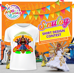 Sinulog 2020 shirt design contest with Anjo World with dancing queens and a white shirt with Sinulog festival design