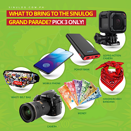 Sinulog 2020 what to bring a post with a display of items like cellphone, camera, money, power bank and pouch