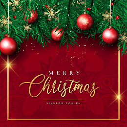 Sinulog Merry Christmas social media design with red Christmas ball and gold snowflakes design in the postcard
