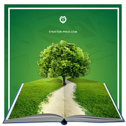 Stratton Press with open book design in a grass field and a tree with a logo on top
