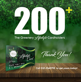 The Greenery Lifestyle Card social media design with a 200 + cardholders and contact details
