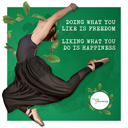 The Greenery social media design with a female ballet dancer with quotes