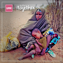 UMR Better Together social media design with a woman sitting on the hot field and embracing her son