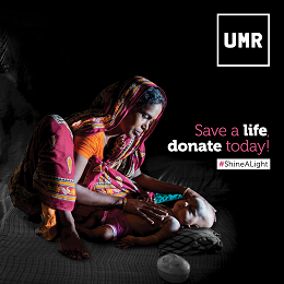 UMR social media design in a woman caressing her baby to sleep with a donate quote