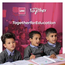 UMR Together For Education social media design with students in the classroom