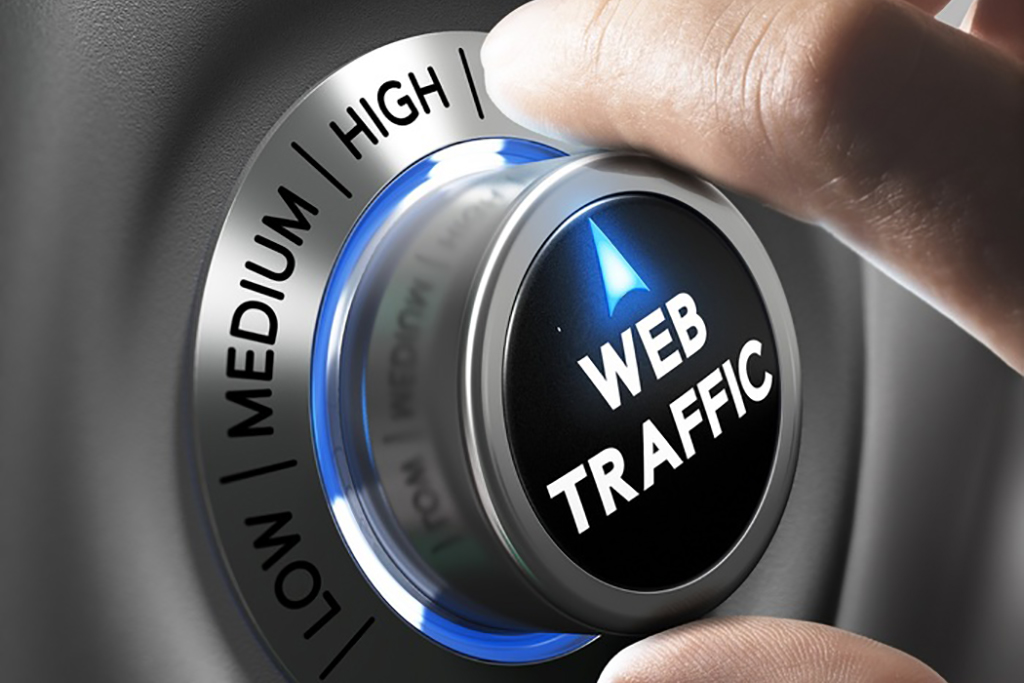 Web traffic button pointing high position with two fingers in blue and grey tones