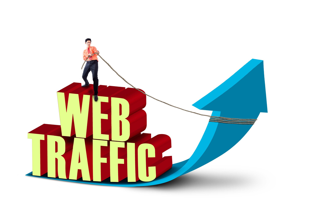 Businessman is pulling web traffic sign on white background