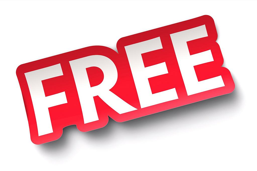 FREE sticker on white background