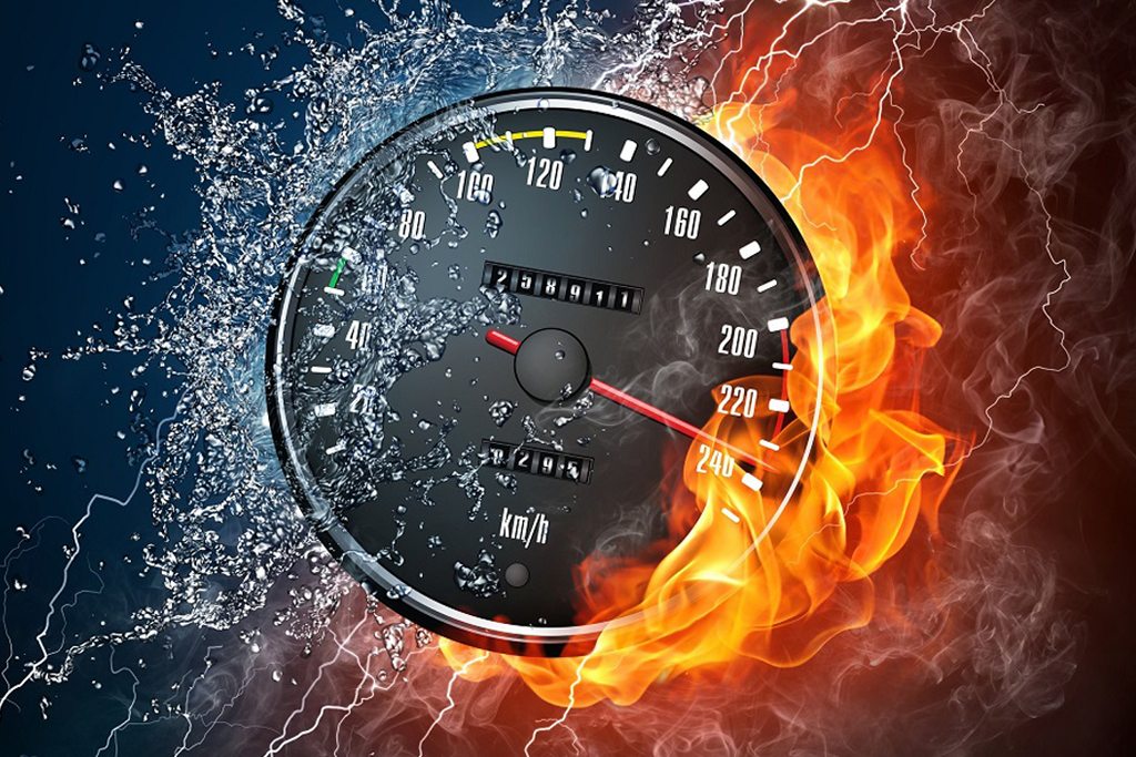 Speedometer enveloped in flame and water