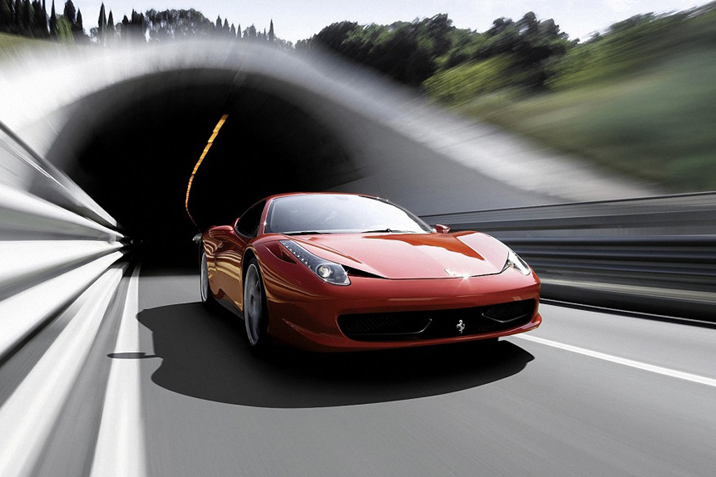 Fast sports car moving with motion blur