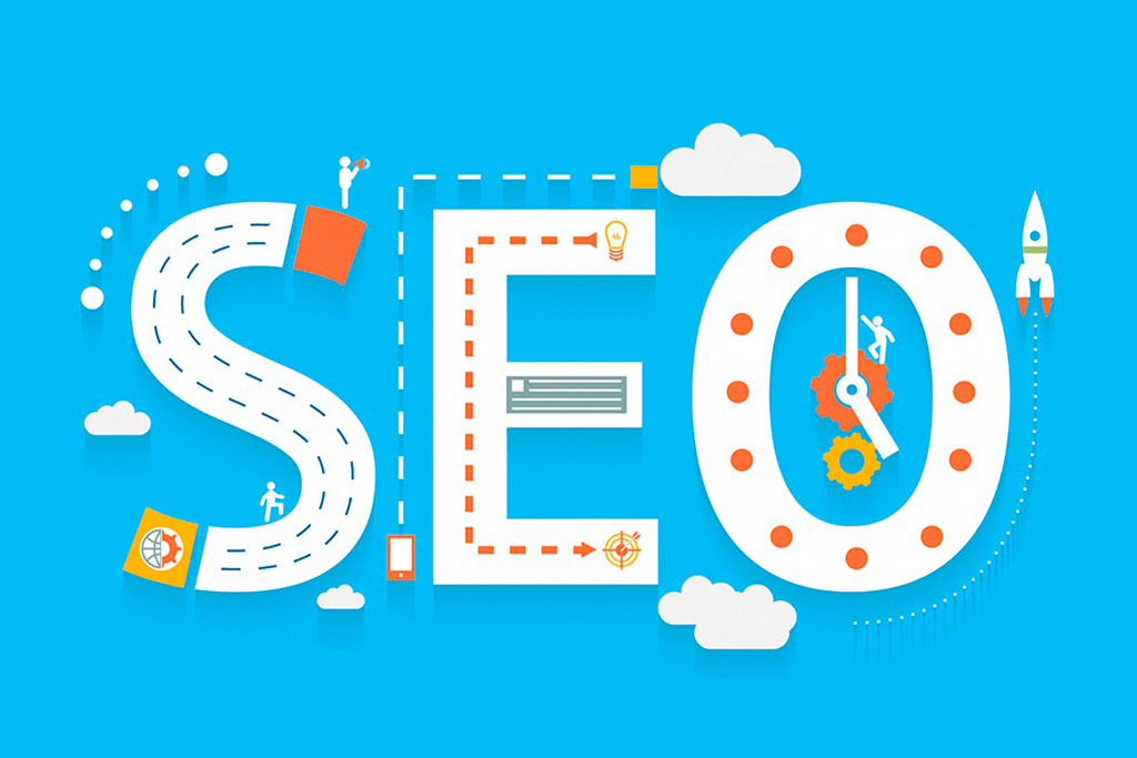 Seo word in blue representing internet optimization and promotion