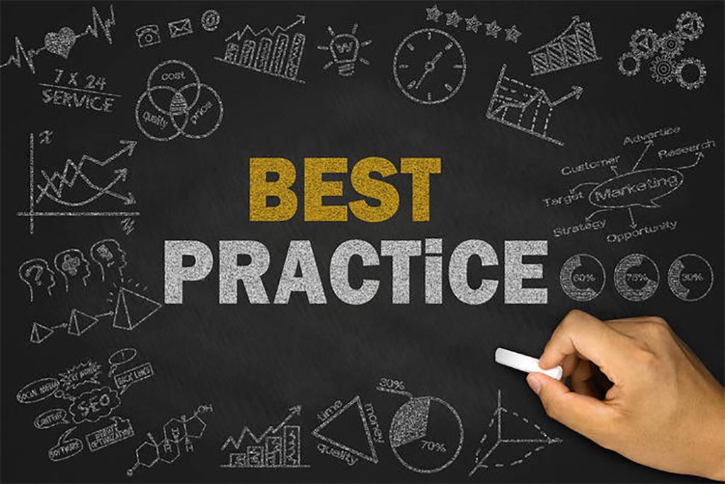 Best practice concept on blackboard