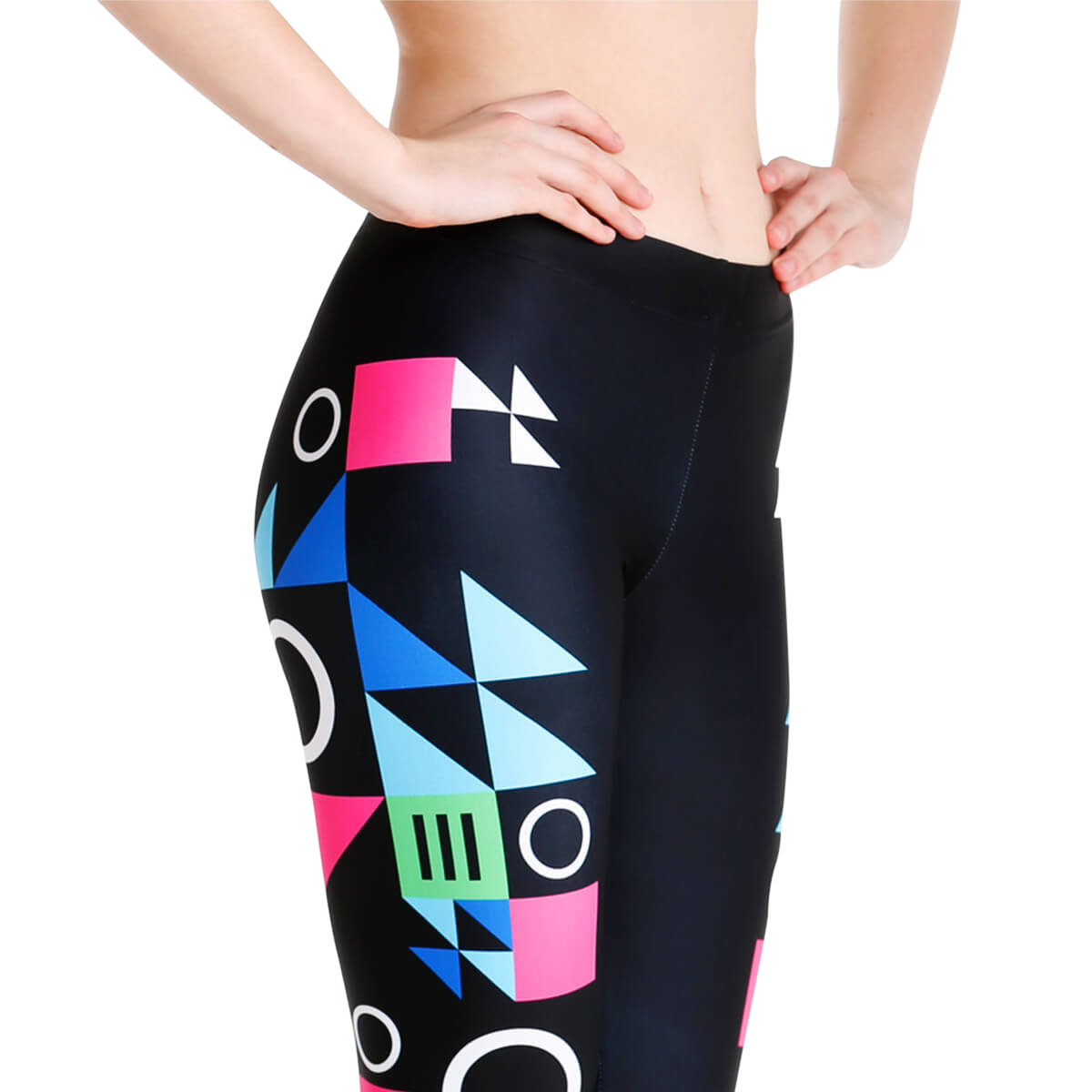 Woman wearing an activewear black pants with colorful print design