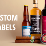 Liquor and tobacco products displayed with a tagline 'Custom Labels'