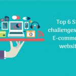 A cartoonized hand of a man holding a balance of icon images of gadgets with a tagline 'Top 6 SEO challenges of an E-commerce website'