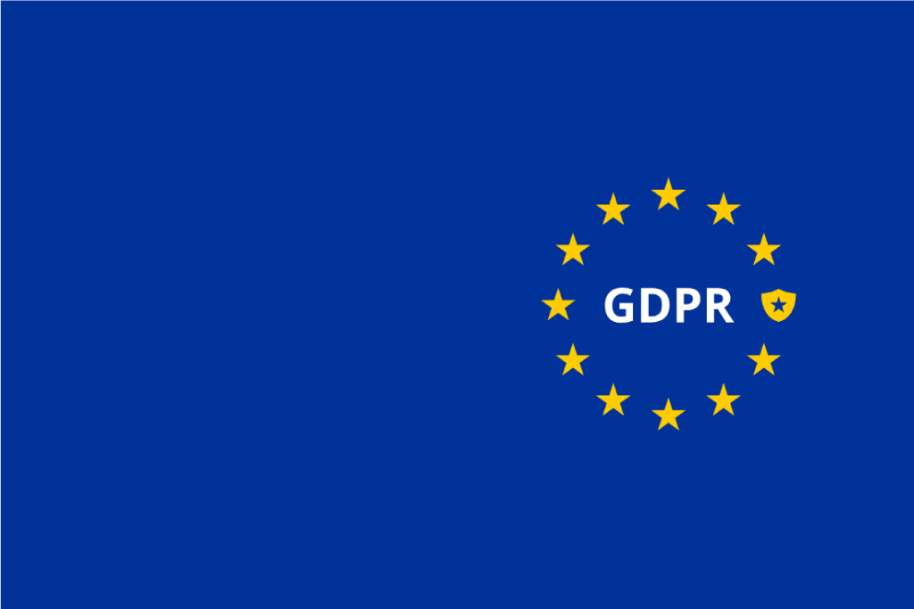 Banner with stars circling on the tagline 'GDPR'