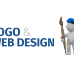 An icon of a man holding a big paintbrush on hand a blue cap with a tagline 'Logo & Web Design'