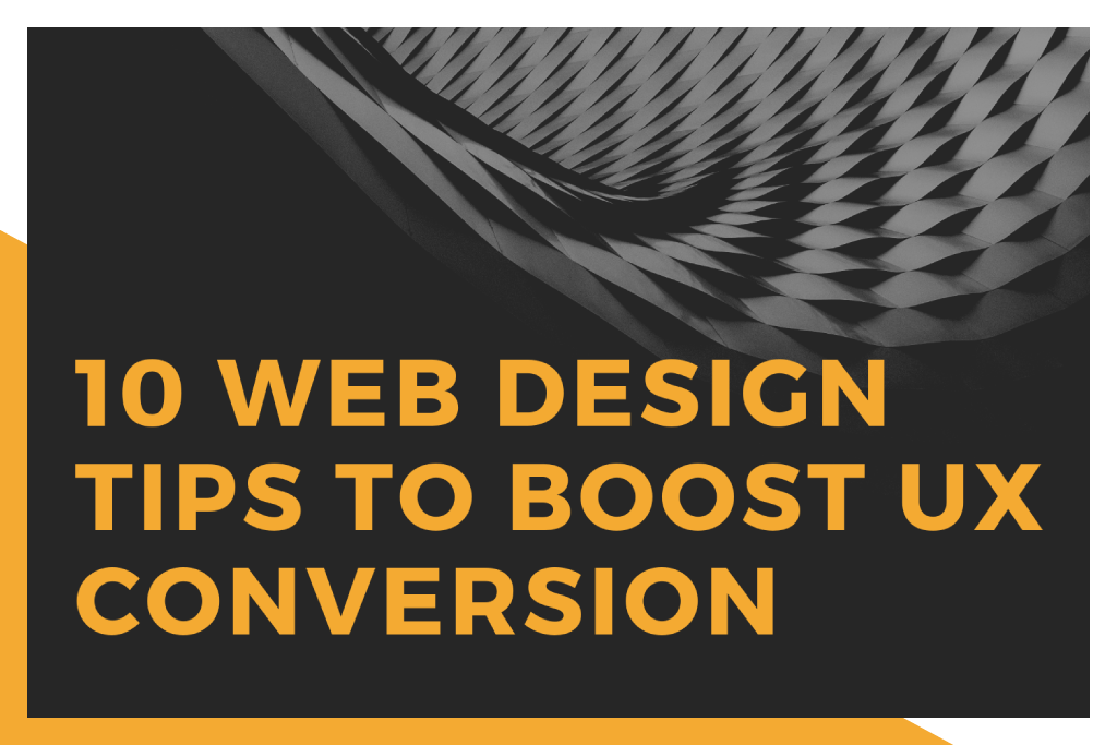 A spiral squares in black and white with tagline '10 Web Design tips to boost UX conversion'