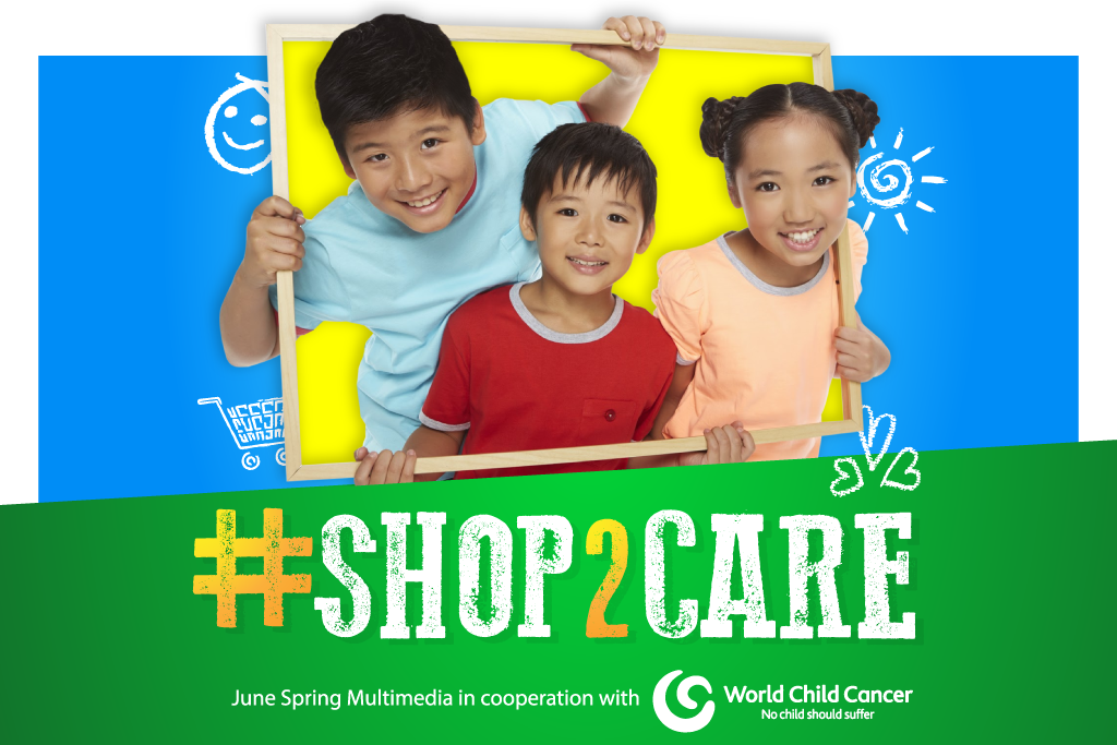 Two boys and one girl showing a beautiful smile on camera with a tagline '#Shop2Care'