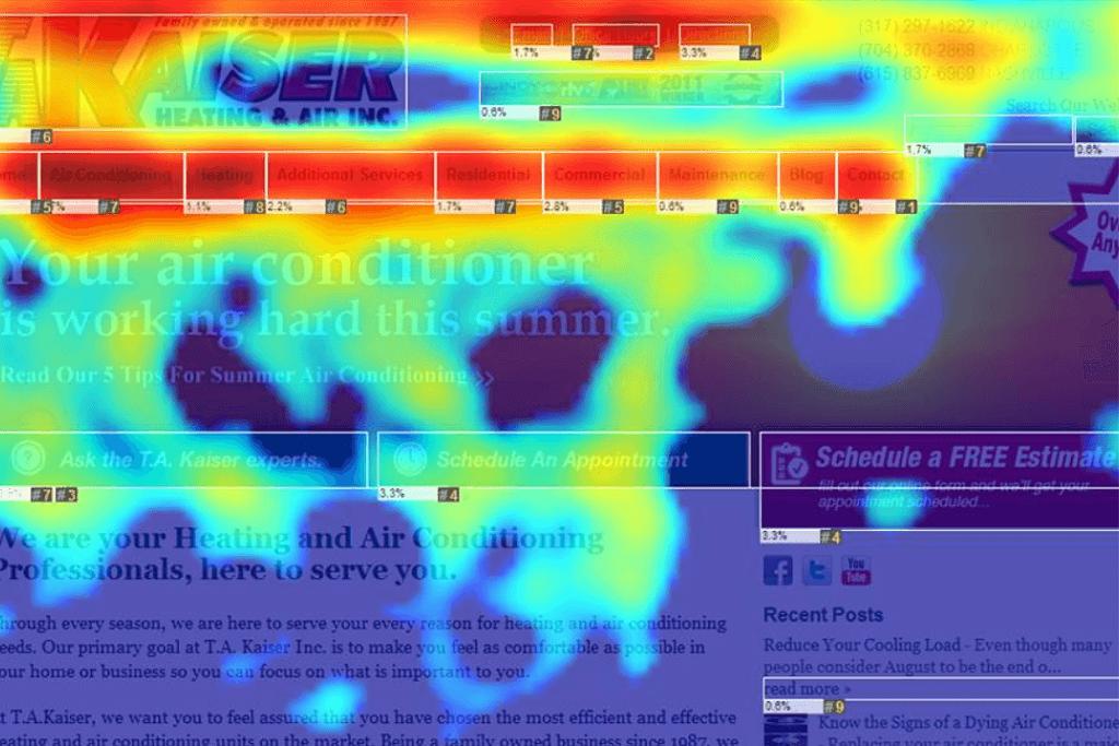 Heat map generation & optimization image of a website