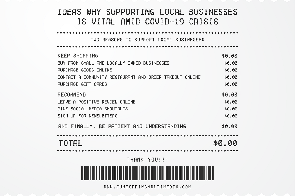 A receipt like list of ideas to support local business